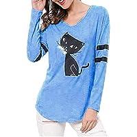 Luckycat Camiseta de Mujer Gato Imprimir Sin Tirantes Blusa O Cuello Sólido Manga Larga Tops t Shirt Moda