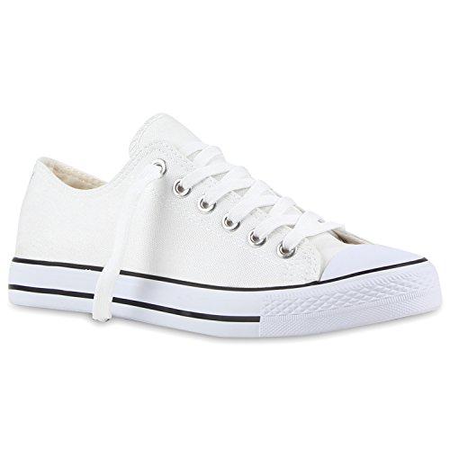 Herren Sneakers Freizeit Sport Schnürer StoffFitness Streetstyle Viele Farben Schuhe 109474 Weiss-Schwarz 40 | Flandell® (Street-sport-schuh)