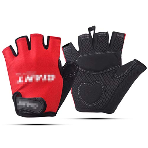 LybGloves Fahrradhandschuhsommersport im Freien reitet halbe Fingerhandschuhhandschuhe der Handschuhe Kurze Finger Sportwürfel, rot, M