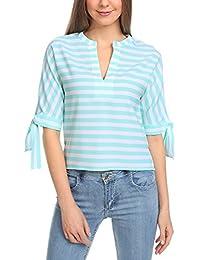 oodji Collection Mujer Blusa a Rayas de Estilo Marinero