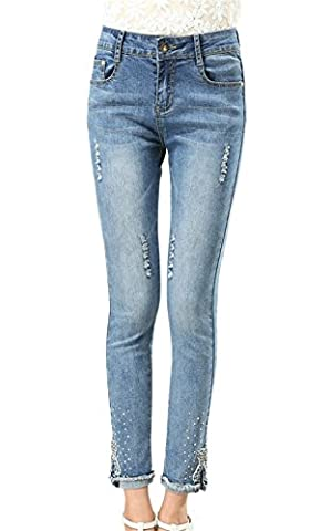 Insun Women's Cotton Beaded Stretch Ripped Ankle Skinny Jeans UK 28 Blue