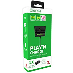 CAPCY 1200mAh Akku Batterie mit 3.0m Spiel- und Ladekabel & Station für XBOX ONE Controller [PLAY'N CHARGE EXTRA LIFE]