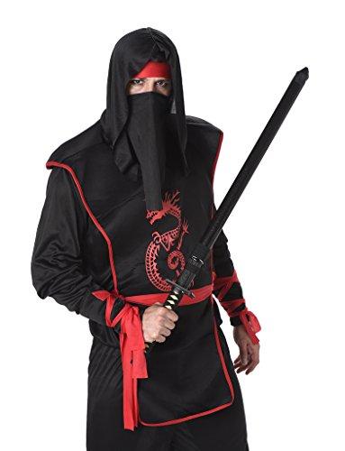Ninja Kostüm Black Männer - Karnival Costumes  - Ninja-Kostüm für Herren Taille M