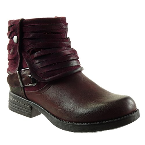 Angkorly - damen Schuhe Stiefeletten - Biker - Reitstiefel - Kavalier - Classic - Multi-Zaum - Schleife - Geflochten Blockabsatz 3 CM Burgunderrot