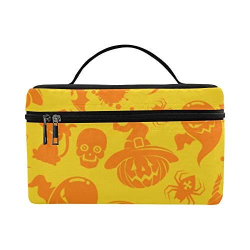 Colorful Halloween Seamless Pattern Kürbis Katze Muster Lunchbox Tote Bag Lunch Holder Isolierte Lunch Cooler Bag Für Frauen/Männer/Picknick/Bootfahren/Strand/Angeln/Schule/Arbeit