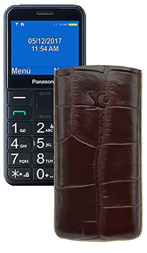 Suncase Original Tasche für Panasonic KX-TU 150 Leder Etui Handytasche Ledertasche Schutzhülle Case Hülle - Lasche mit Rückzugfunktion* in Croco-Braun