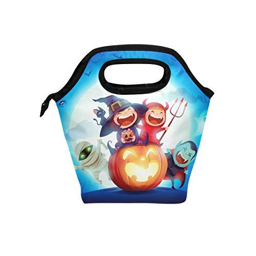 hunihuni Halloween-Kostüm Party Kürbis Hexe Isolierte Thermo-Lunch-Kühltasche Tote Bento Box Handtasche Lunchbox mit Reißverschluss für Schule Büro Picknick