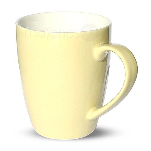 matches21 Tasse Becher Kaffeetassen Kaffeebecher Unifarben/einfarbig cremefarben beige Porzellan 6...