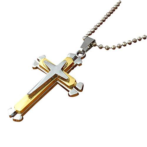 Dorical Unisex Kette/Damen Herren Halskette mit Kreuz Anhänger Glauben mit Diamant Silber 45 cm lang geschenke für frauen/Männer Promo(Gold)