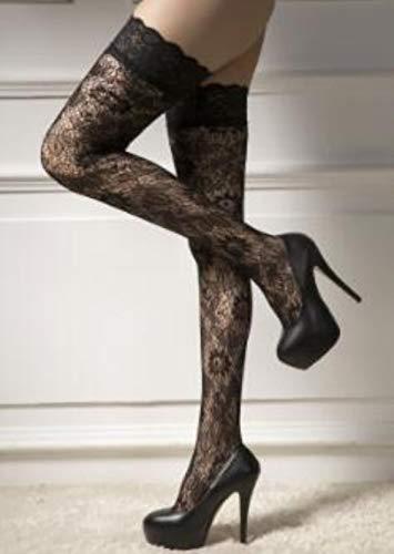 Dünne ultradünne reizvolle Frauen-Spitze-Blumenoberteil-Oberschenkel-hohe ultra schiere über dem Knie hohe reizvolle Strümpfe erotische Wäsche, schwarz -