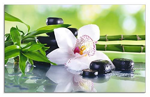 Artland Design Spritzschutz Küche I Alu Küchenrückwand Herd Wellness Zen Pflanze Fotografie Grün H8GR Spa Steine, Bambus Zweige und weiße Orchidee auf dem Tisch auf natürlichem Hintergrund - Zen-bad-tisch