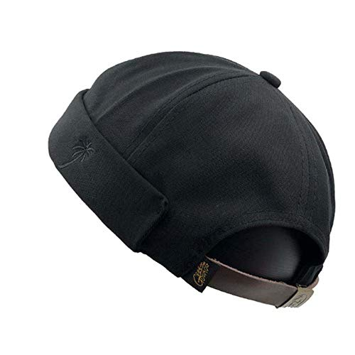 Clape Sailor Cap Rolled Cuff Retro Brimless Beanie Hat Strapback Skullcap Unique Street Casual Cotton Brim-Less Docker ()