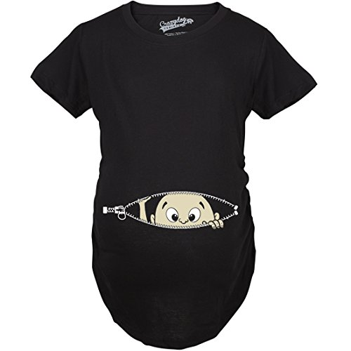 Tshirts Maternity Baby Peeking Shirt Funny Pregnancy Cute Announcemen