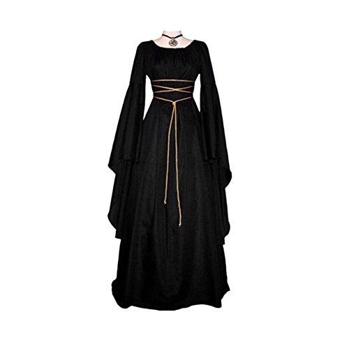 Bangle009Retro Damen Lang Ärmel Rund Hals Party Maxi Kleid Halloween Cosplay Kostüm, Marineblau, ()
