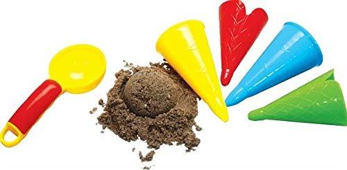 Gowi 558-41 - Juego de playa con moldes para la arena, forma de helado (5 piezas en redecilla) [importado de Alemania] - Estos deliciosos moldes helado de arena son ideales para el juego imaginativo en el arenero o en la playa. - Los jóvenes podrán d...