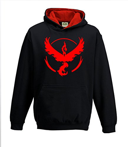 Bullshirt da uomo Team Valor Contrasto Felpa Con Cappuccio Black / Red XX-Large - Red Mystic Jacket