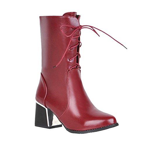Robustos Senhoras Eixo Mee Meio Sapatos Botas Com Vermelhas Saltos Cadarços qCqta