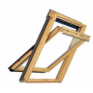 Velux Dachfenster GGL Schwingfenster 78x118cm M06 3070 Thermo Kiefer Natur mit Ziegeleindeckrahmen EDZ 2000