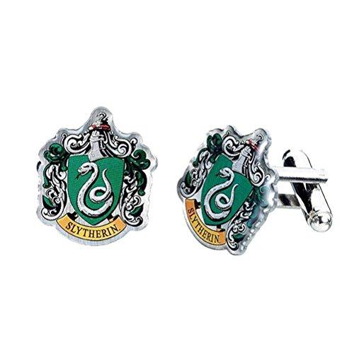Offizielle Warner Bros Harry Potter Slytherin Wappen Silber vergoldete Manschettenknöpfe