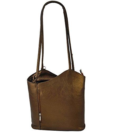 Freyday 2 in 1 Handtasche Rucksack Designer Luxus Henkeltasche aus Echtleder in versch. Designs (Blau Metallic)