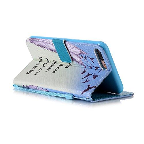 iPhone 7 plus Flip Ledertasche, Muster Book Case Cover für iPhone 7 PLUS, Aeeque® Slim [Standfunktion Kartenfach] Malerei Pink Lotus Bilder Leder Handy Tasche Klappetui Lederhülle Brieftasche Feder Vögel
