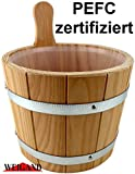 Weigand Saunakübel 5 Liter mit verzinkten Bandstahlreifen und Kunststoffeinsatz I PEFC zertifiziertes Lärchenholz I Saunaeimer I Saunazubehör I Kübel...