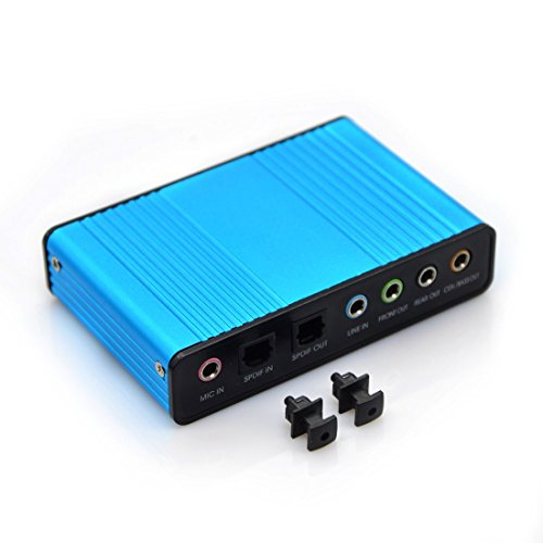 Easy-Link Externe Soundkarte USB 6 Kanal 5.1 Audiokarte USB Soundbox mit SPDIF Didital Audio - 5.1 Surround Audio Adapter Analoge und Digitale Audiogeräte für Windows / Laptop / PC