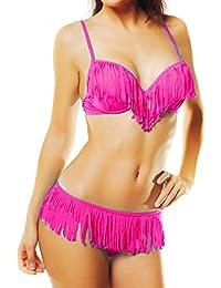 85bac0c2b0 Maillot de bain femme 2 pièces bikini à Franges Push up - Tendance et ...