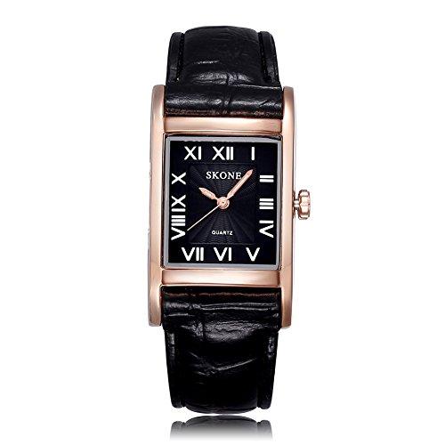 Skone Mujer Negro Piel de banda roma relojes de cuarzo números oro Rectángulo Case Negro Dial 505804