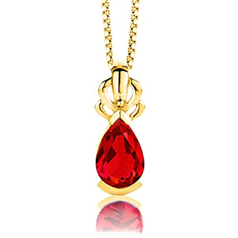 Byjoy 925 Gold Plated Pear Shape Ruby Pendant on 45cm Box Chain