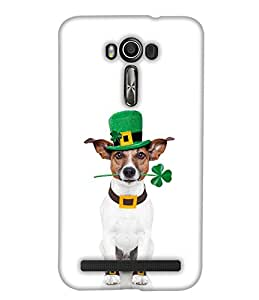 PrintHaat 3D Hard Polycarbonate Designer Back Case Cover for Asus Zenfone 2 Laser ZE601KL (6 Inches) (cute dog :: sweet dog :: dog with neck strap trying to listen from glass :: funny dog moments :: in white, silver and brown)