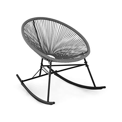blumfeldt Roqueta Chair Schaukelstuhl im Retro-Design • Bespannung aus 4mm-Geflecht • Gestell aus pulverbeschichtetem Stahl • witterungsbeständig • grau