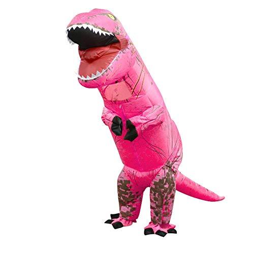 (Foru-1 Aufblasbares Dinosaurierkostüm T-Rex Kinder-Kleid Cosplay Anzug für Kinder 130-160 cm (Rosa))