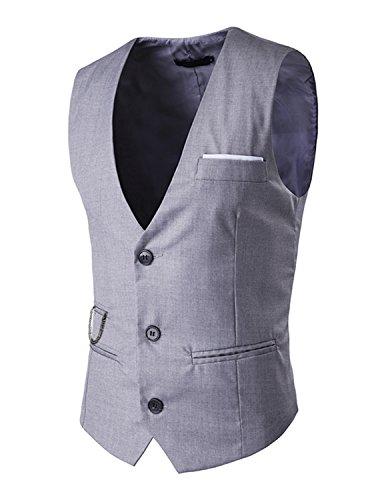 Leisure Herren V-Ausschnitt Ärmellose Westen Slim Fit Jacke Lässige Weste Anzug Business Anzugweste - Grau, Gr.S