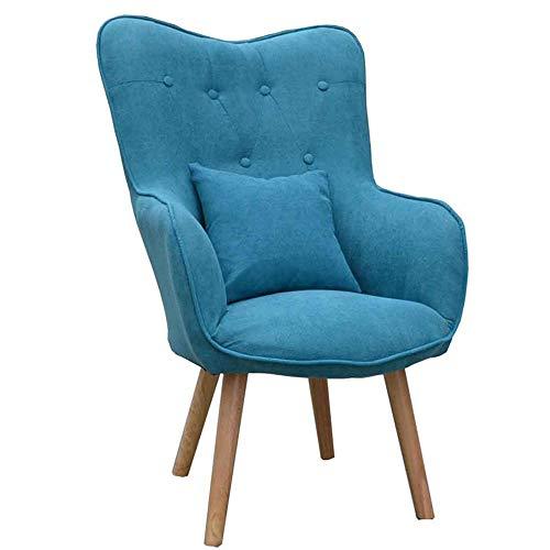 YINGYING Lazy Couch Chair, nordischer Computer-Stuhl aus Stoff, kleines Apartment Modernes Schlafzimmer Wohnzimmer Lounge Chair Schweiß absorbierender, Nasser Griff (Color : Blue) -