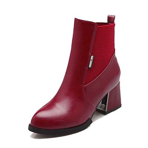 AllhqFashion Damen Rund Zehe Mittler Absatz Weiches Material Niedrig-Spitze Rein Stiefel, Rot, 43