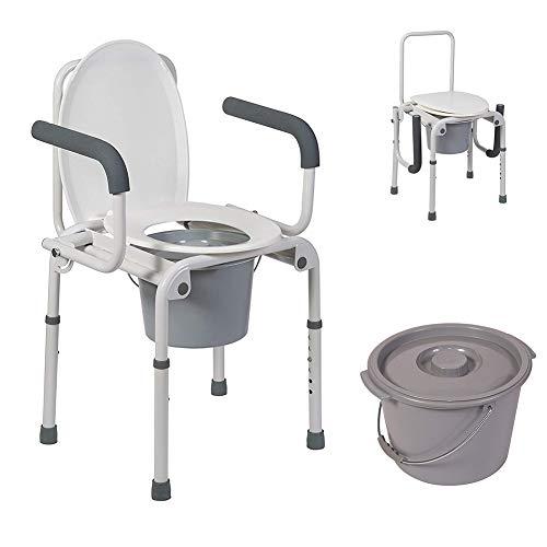 ZZYYZZ Toilettenstuhl, tragbare Toilette, Drop Arm Kommode für einfache Transfers, Stahl Nacht Kommode, Easy No Tool Montage -