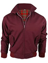 [Wine, X-Large] MENS CASUAL CLASSIC RETRO CHECK LINED HARRINGTON BOMBER JACKET 3 COLOURS S-3XL