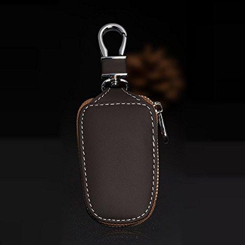 Auto Schlüsselanhänger Tasche Schutz Aus Echtem Leder Auto Smart KeyChain Münzhalter Auto Fernbedienung Schlüsselanhänger für Frauen und Männer -