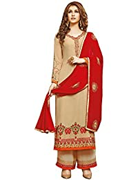 Like A Diva Stunning Beige Red Palazzo Suit Dress material with Embroidery for Women