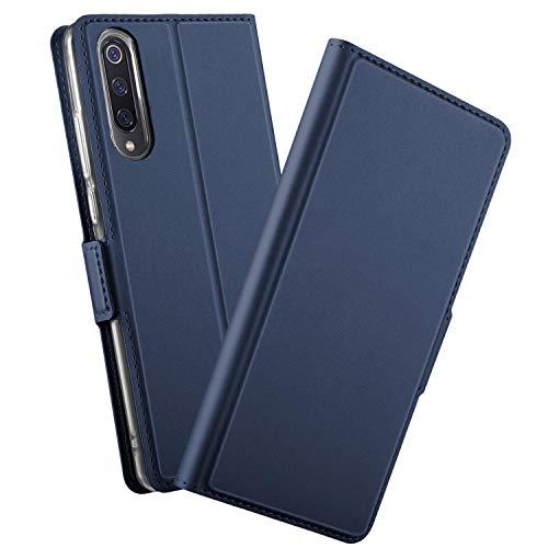 GEEMEE Funda para Xiaomi Mi 9, Premium PU Carcasa Libro de Cuero Funda Case Wallet Flip Folio Caso, Soporte Plegable Anti-arañazos Cubierta Completa Protección Cover (Azul)