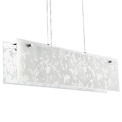 Elegant Designer 4 Way Polished Chrome And Frosted Glass Floral Damask Pattern Suspension Over Table Polished Chrome Drop Down Dining Room / Kitchen Ceiling Light - inexpensive UK light shop.