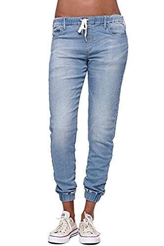 Pxmoda Damen Jogger Denim Hosen Elastische Kordelzug Taillierte Stretchy Casual Blue Jeans (Blau, Medium)