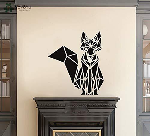 zhuziji Wall Decal Geometric Fox Vinyl Wall Stickers Animal Removable Home Decor Art Mural Interior Kids Room Nursery Desi 57x65cm (Up Dress Fox Girl)