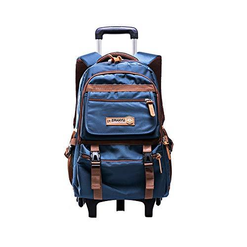 Zaino scuola trolley - bmeigo removibile zaini scuola con 6 ruote elementare impermeabile borsa per ragazzi ragazze adolescenti viaggiare