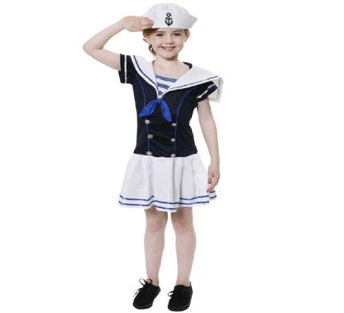 Kinder Seemannmädchen Abendkleidkostüm wie Popeye 10-12 - Girl Popeye Kostüm