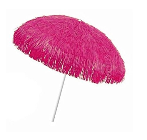Object, bastschirm, Fuchsia-pink, 180/200cm, Raffia Bast, Sonnenschirm, Hawaii - Style, 8 Streben + knickgelenk, Sonnenschirm mit Fransen, Bast