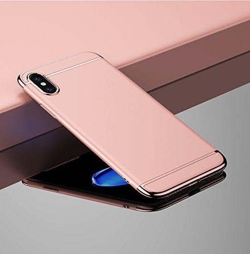 iPhone X Custodia,Cover iPhone X, Case iPhone X 3 in 1 custodia rigida ultra sottile 360 gradi Full Body Protezione Anti-Scratch Copertura Ultra sottile Shockproof Case (Oro rosa) Oro rosa