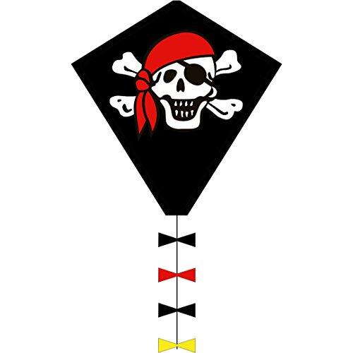 Preisvergleich Produktbild Invento 102105 - Ecoline Eddy Jolly Roger, Kinderdrachen Einleiner, Ab 5 Jahren, 50 x 45 cm + 250 cm Drachenschwanz Ripstop-Polyester 2-5 Beaufort