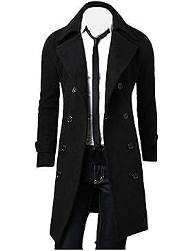 Abrigo para hombre, Dragon868 Invierno hombres Slim con estilo Trench doble Breasted abrigo chaqueta larga